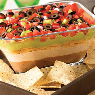 The 7-layer dip is the perfect Superbowl recipe idea