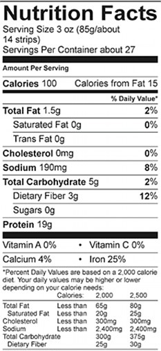 Vegan Chicken strips Nutritional Fact