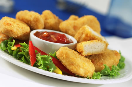 Breaded chicken brings an additional crispiness and crunchiness