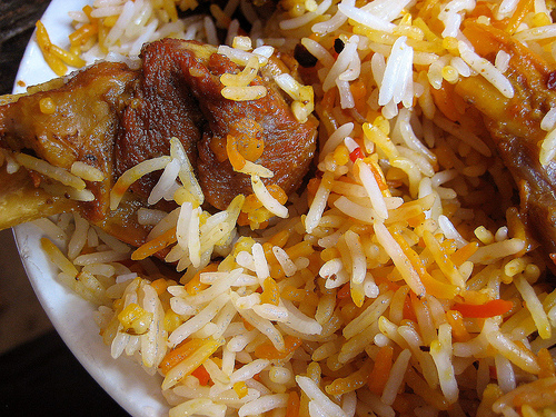 Mutton dampukht biriyani - lamb and rice cooked over low heat