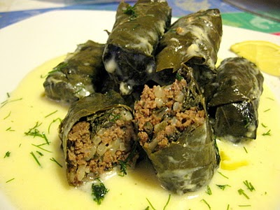 This traditional Greek recipe are made of grape leaves stuffed with vegetables and rice