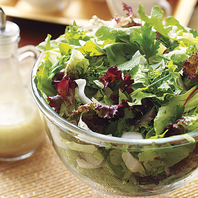 Green salad prepared for a green dinner party