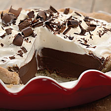 Yummy chocolate cream pie is an ideal dessert.