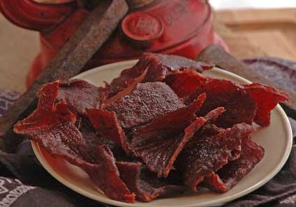 La viande en boite en prévision d'un KK How_to_make_beef_jerky_in_a_smoker_-_ready_to_be_eaten