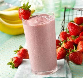 Strawberry banana smoothie served chilled as a dessert