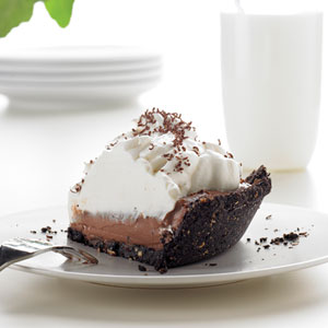 Making chocolate cream pie at home with chocolate chips and cream cheese