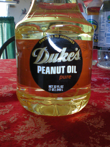 An un-opened jar of Peanut Oil that was stored in the refrigerator.