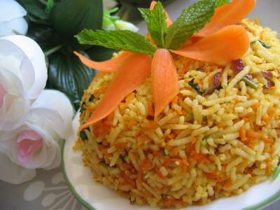 Pulav is dampukht rice with vegetables and spices