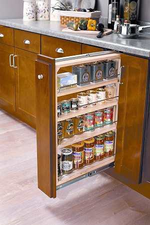 Convenient spice cabinets in the kitchen