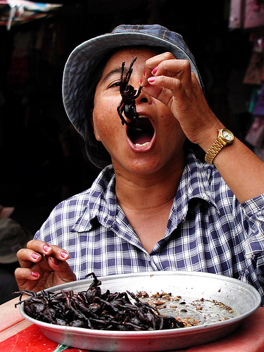 Fried Tarantulas are also included in the Top 10 strange foods of the world