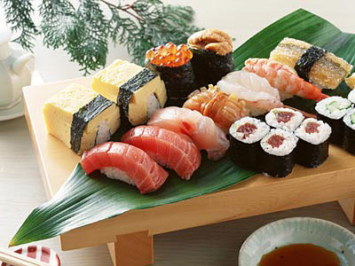 A tempting plate of colorful sushis is hard to resist