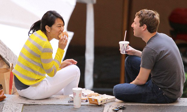 Zuckerbergs Eat Fries and Burger