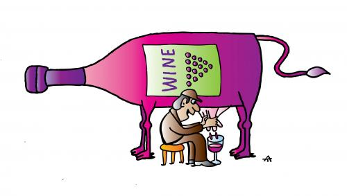 Cow Drinks Wine