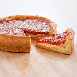 Yummy pizza made from juicy yet crispy deep dish pizza crust