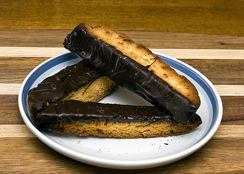 10 Holiday Cookie Ideas Choclate dipped Almond Biscotti