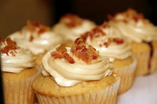 Bacon Cheese Cupcake with Vanilla Cream Cheese Frosting