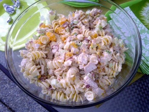Chicken And Pasta Salad With A Creamy Dressing