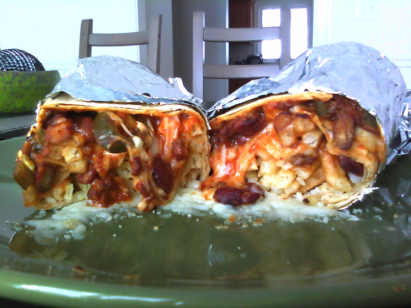 Leftover Chili Burritos