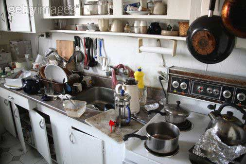 Cleaning Cluttered Kitchen