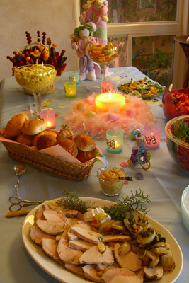 Easter foods include the bread, eggs, meat and desserts