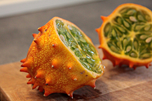 The kiwano is an exquisite fruit also known as the horned melon.