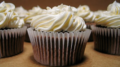 Peanut Butter Cupcakes with White Chocolate Frosting