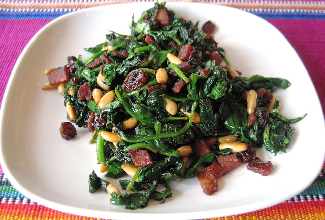 Spinach Salad With Raisins And Pine Nuts