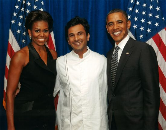 Vikas Khanna with the President and Forst Lady