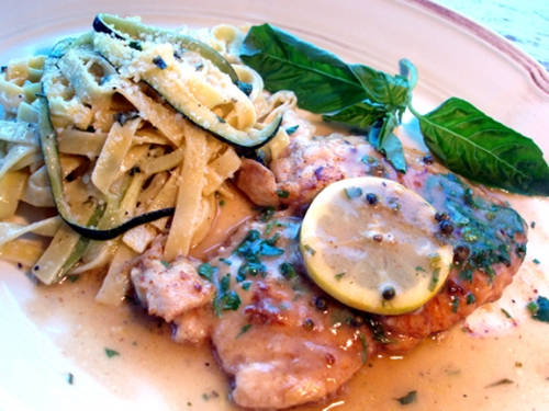 Chicken Picatta -- main course food from Italy