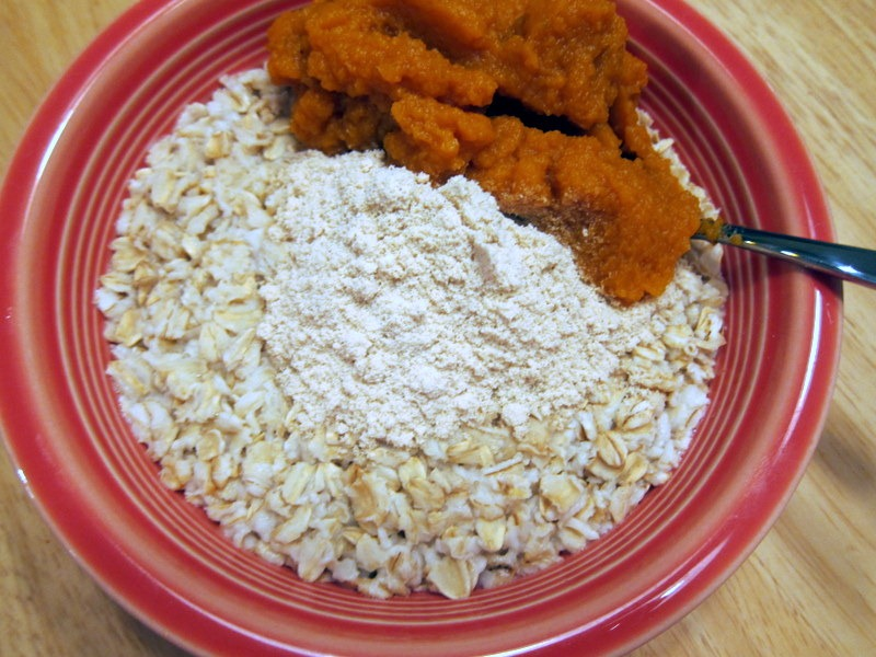 Pumpkin mash and oatmeal