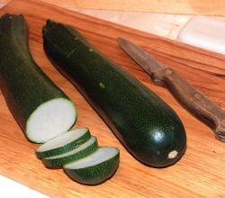 Zucchini sliced up