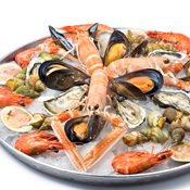 An assorted shellfish platter, most of the shellfish are so flavorful they need minimal processing before eating