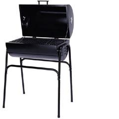 A sleek and simple BBQ grill made from a trash 55 gallon drum