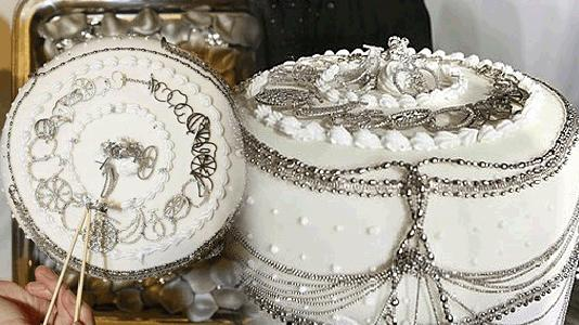 Platinum Cake - White cake adorned with real platinum jewelry