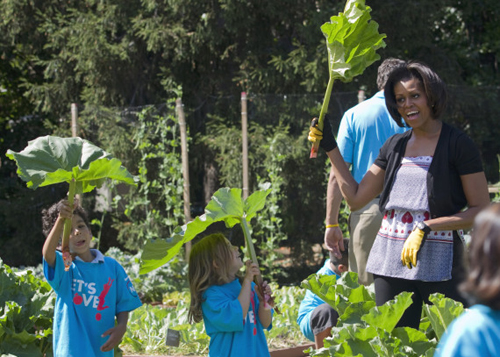Ms Obama with rhubarb plant from White House Kitchen Patch