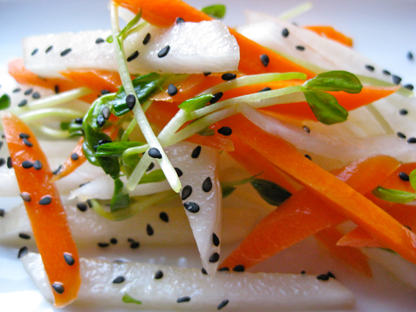 Marinated Daikon and Carrot Salad with Spring Snow Pea Shoots picture
