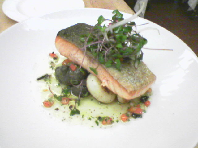 Seared salmon w/ roasted fingerling potatoes&cipollini onions. Salsa sauce picture