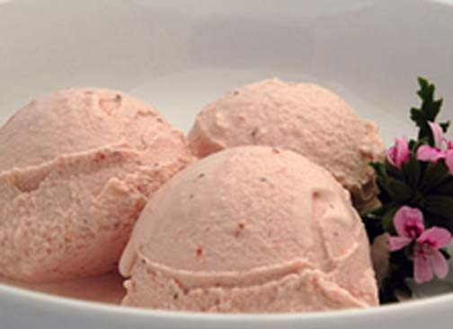 Organic Strawberry Rose Geranium Ice Cream Drizzled With Balsamic Vinegar picture