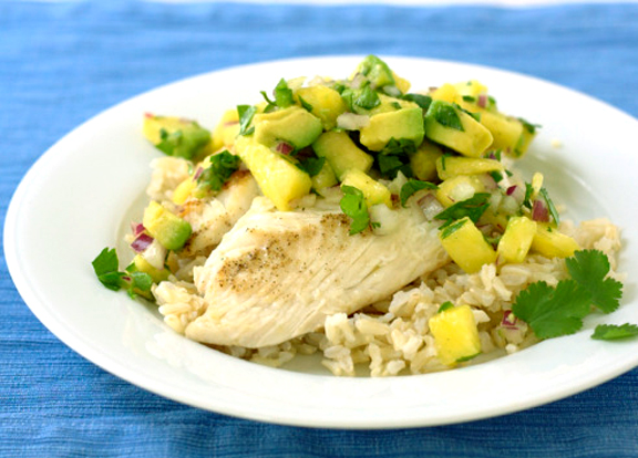 Pan Fried Tilapia Roasted Pineapple With Toasted Head Avocado Salsa picture