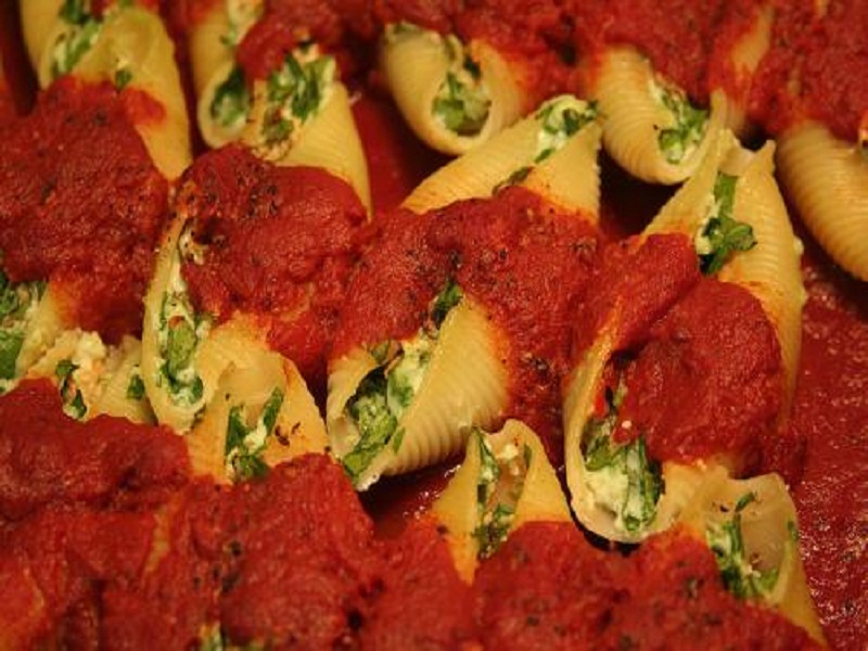 Pasta Shells Stuffed with Cheese In A Creamy Tomato Sauce picture