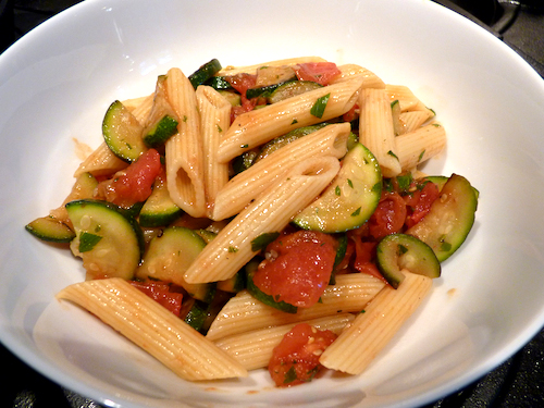 Pasta with Zucchini and Fresh Tomatoes picture