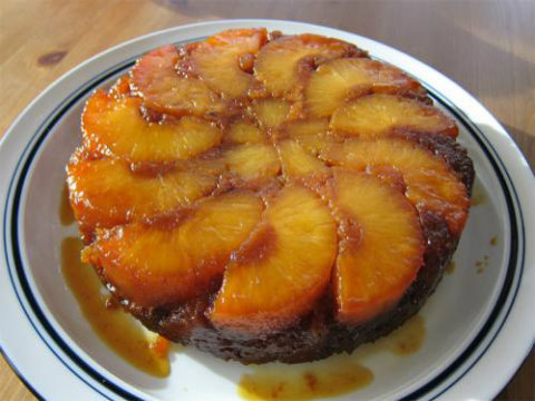 Peach Upside Down Cake and Celebration Cake picture