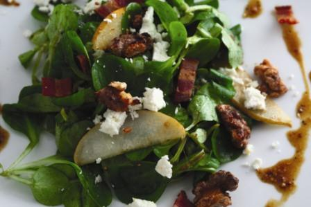 Asian Pear, Mache, Feta, & Bacon Salad with Coarse-grain Mustard & Molasses Vinaigrette  picture