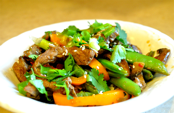 Stir Fried Pork With Oranges And Snow Peas picture