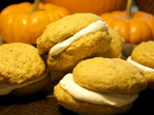 Pumpkin Sandwich Cookies with Creamy Filling