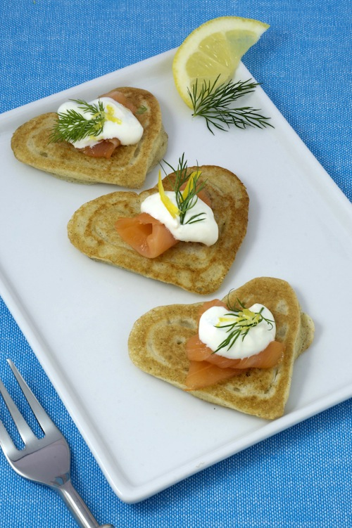 Heart-Shaped Blini with Smoked Salmon and Lemon Caper Sour Cream picture