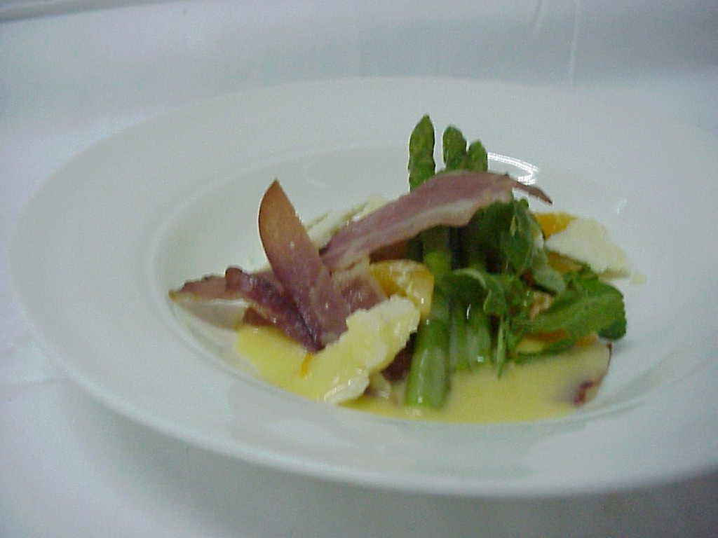 Parma ham, asparagus tips with maltaise sauce and Parmesan picture