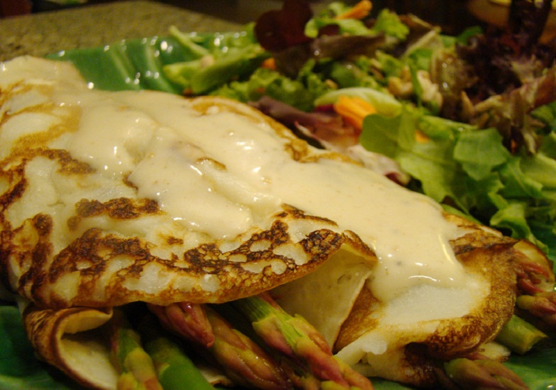 Salmon Asparagus Crepes with Swiss Cheese Sauce picture