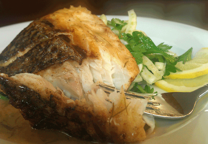 Crispy Striped Bass with Citrus Glaze & Fennel Parsley Salad picture