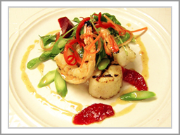 Jumbo Shrimp and Scallops with Baby Arugula and Blood Orange Vinaigrette picture